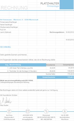 Proforma Rechnung Vorlage Kostenlos Zum Download