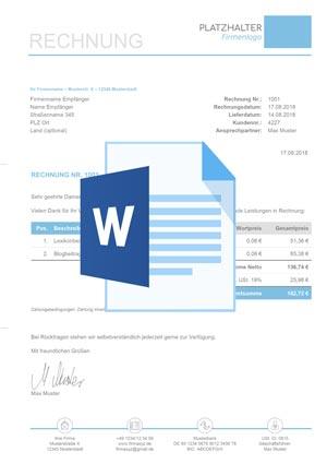 Rechnungsvorlage Word Anleitung Kostenloser Download