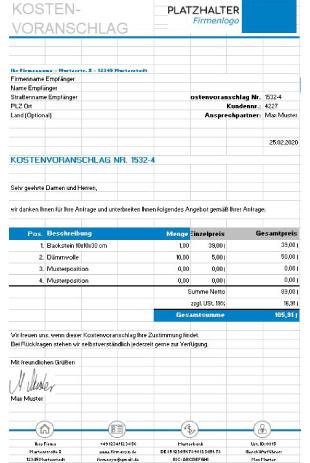 Kostenvoranschlag Muster Excel