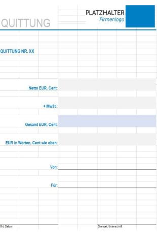 Quittung Vorlage Excel