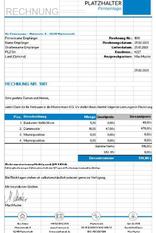 Rechnung ohne Umsatzsteuer Muster Excel