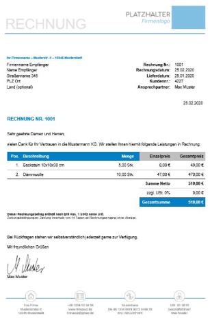 Rechnung Ohne Umsatzsteuer Muster Kostenloser Download