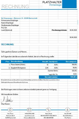 Rechnungsvorlage Gastronomie Excel
