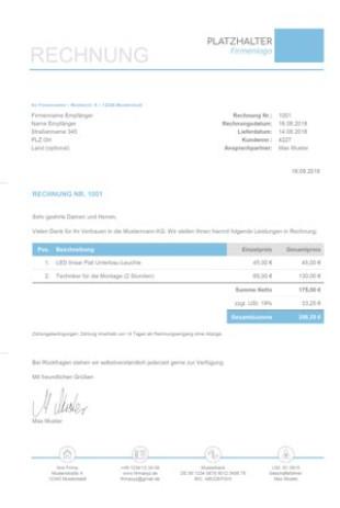 Rechnungsvorlage Privatperson Kostenloser Download
