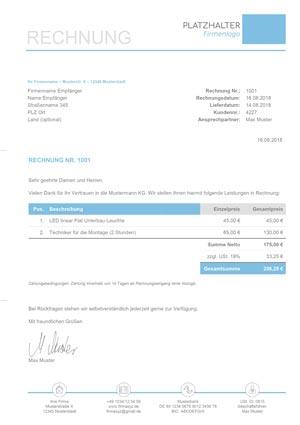 Rechnungsvorlage Kleinunternehmer Kostenlos Zum Download